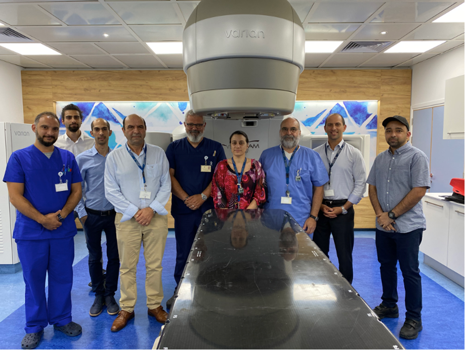 The Oncology Centre and Attikouris Medical Team in front of the Varian Vitalbeam installed